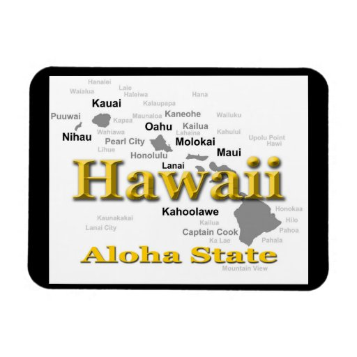 Hawaii State Pride Map Silhouette Vinyl Magnets