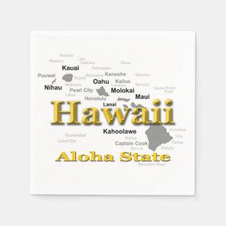 Hawaii State Pride Map Silhouette Paper Napkin