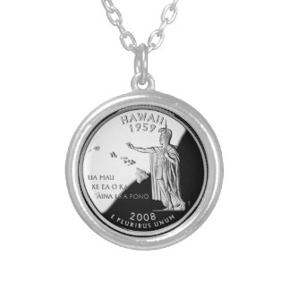 Hawaii State Quarter Silver Plated Necklace