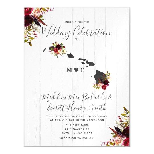 Wedding Invitations Hawaii: Hawaii State Rustic Magnetic Wedding Invitation