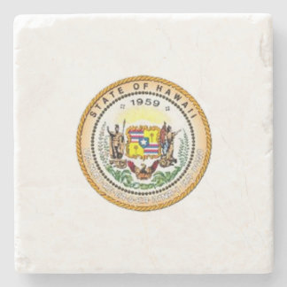 Hawaii State Seal Stone Beverage Coaster