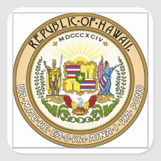 Hawaii State Seal Square Sticker