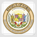 Hawaii State Seal Square Stickers