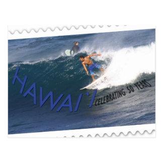 Hawaii statehood 50th anniversary postcard- surfer