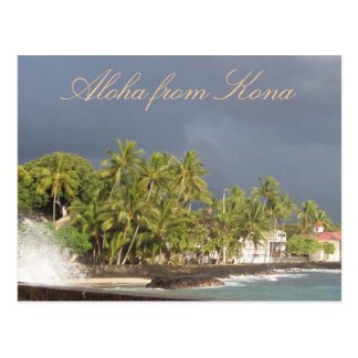 Hawaii Stormy Sky at Island OceanSeawall Postcard