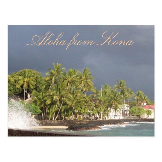 Hawaii Stormy Sky at Island OceanSeawall Postcard