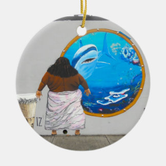 Hawaii Street Art Israel Mural Double-Sided Ceramic Round Christmas Ornament
