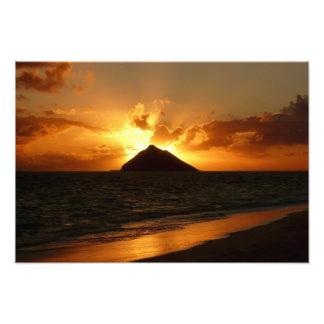 Hawaii sunrise at the beach photo print