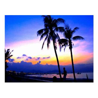 hawaii sunset beach peace postcard