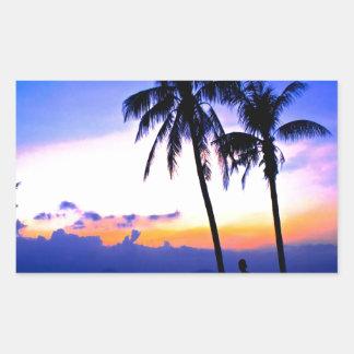 hawaii sunset beach peace rectangular sticker
