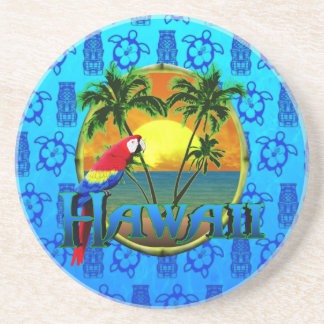 Hawaii Sunset Blue Tiki Drink Coaster