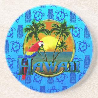 Hawaii Sunset Blue Tiki Drink Coaster
