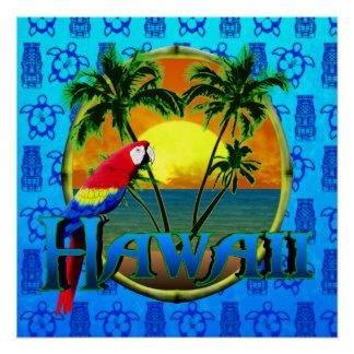 Hawaii Sunset Blue Tiki Poster