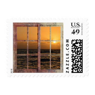 Hawaii Sunset in a Window Postage Stamp
