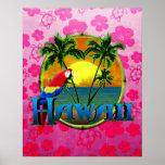 Hawaii Sunset Pink Honu Poster