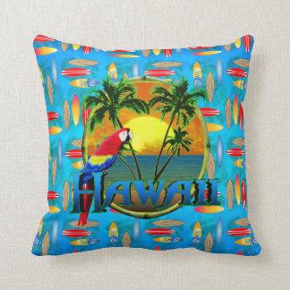 Hawaii Sunset Surfboards Throw Pillows