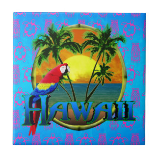 Hawaii Sunset Tiki Mask Ceramic Tile