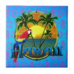 Hawaii Sunset Tiki Mask Ceramic Tiles
