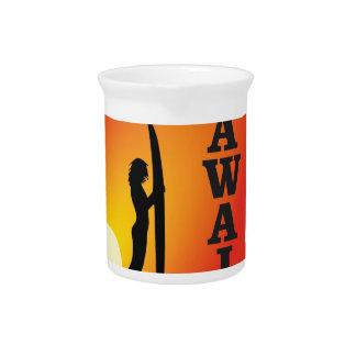 Hawaii surf girl beverage pitcher
