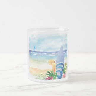 Hawaii Surf Vacation - Watercolor Art Frosted Glass Coffee Mug