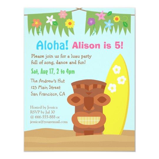 Hawaii Tiki Luau Beach Theme Birthday Party Invitation Zazzle Com