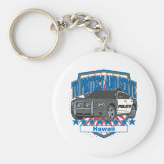 Hawaii To Protect and Serve Police Car Keychain