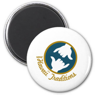 Hawaii Traditions Logo Round Magnet