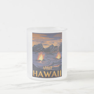 Hawaii Travel poster Frosted Glass Coffee Mug