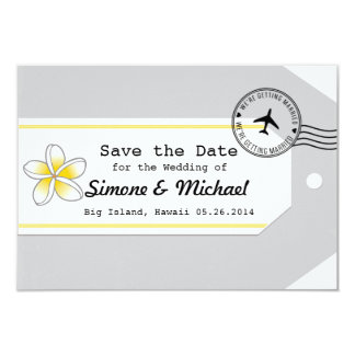Hawaii travel theme Luggage Tag Save the Date 3.5x5 Paper Invitation Card