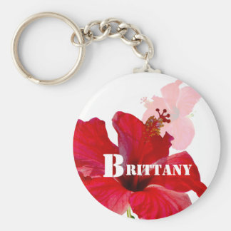 Hawaii Tropical Hibiscus Flowers Basic Round Button Keychain