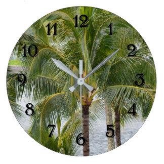 Hawaii Tropical Palm Trees Large Clock