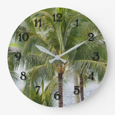 Beach Themed Hawaii Tropical Palm Trees Large Clock