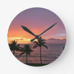 Hawaii Tropical Sunset on the Beach Round Wallclocks