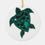 Hawaii Turtle and Hawaii Islands Double-Sided Ceramic Round Christmas Ornament