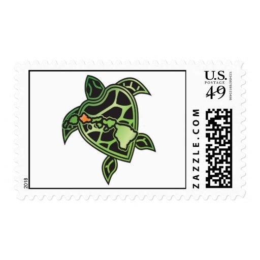 Hawaii Turtle and Hawaii Islands Postage Stamps