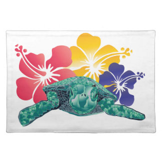 Hawaii Turtle and Hibiscus Flowers Place Mats