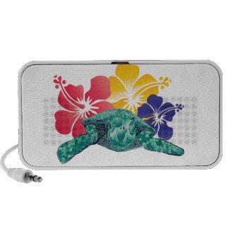 Hawaii Turtle and Hibiscus Flowers Laptop Speaker