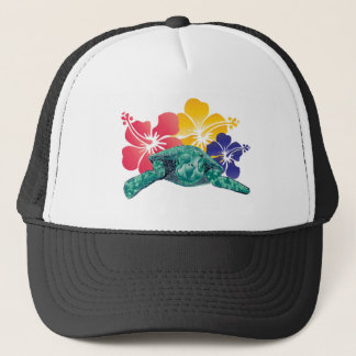 Hawaii Turtle and Hibiscus Flowers Trucker Hat