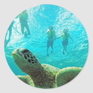 Hawaii Turtle and Snorkelers Classic Round Sticker
