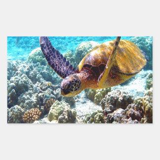 Hawaii turtle freedom peace and joy rectangular sticker