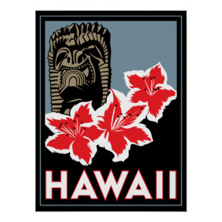hawaii united states usa art deco retro poster