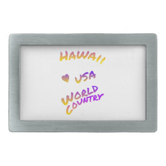 Hawaii usa world country, colorful text art belt buckle