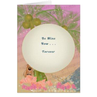 Hawaiian Themed Hawaii-Valentine-Love-Palms, Ukelele, Sea, Conch Card