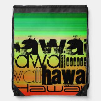 Hawaii; Vibrant Green, Orange, & Yellow Drawstring Backpack