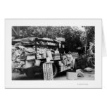 Hawaii - View of a Native Vegetable Wagon Greeting Card