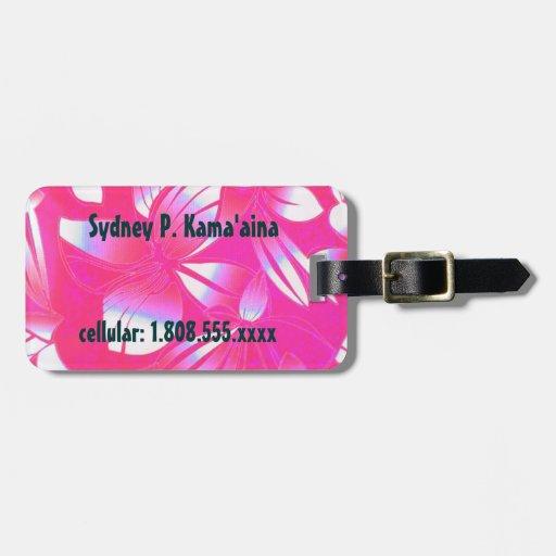 Hawaii Vintage Floral Pink Luggage Tag