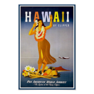 Hawaii vintage poster