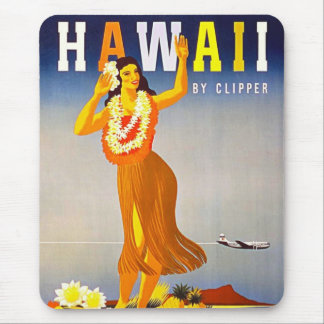 Hawaii Vintage Travel Poster Retro Hula Girl Mouse Pad