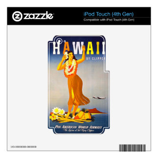 Hawaii Vintage Travel Poster Retro Hula Girl iPod Touch 4G Decals
