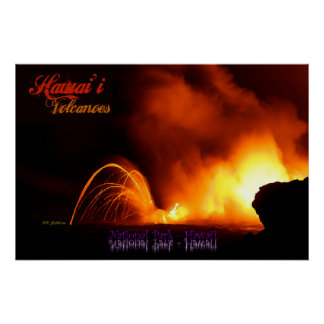 Hawai'i Volcanoes Vintage Style Poster